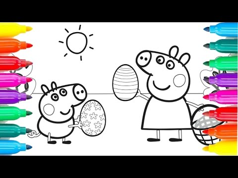 PEPPA PIG Easter Egg Hunt Coloring Pages For Kids Fun Art Videos Rainbow Play 49