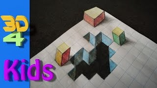 easy 3d drawing for kids and beginners Hole in paper  # 30