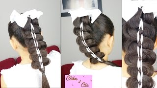 Ribbon Braided Ponytail | Easy Hairstyles | Hairstyles for School | Braided Hairstyles