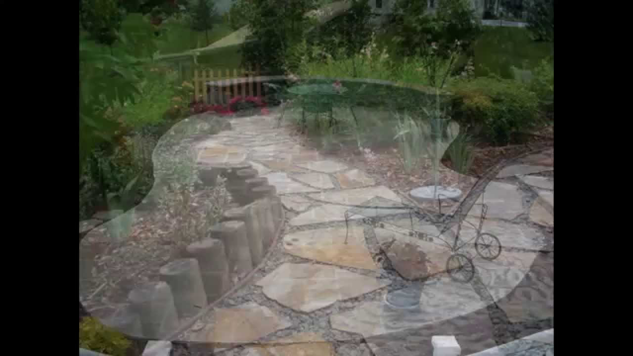 Natural River Rock Patio Design for Simple Crushed Yard ...
