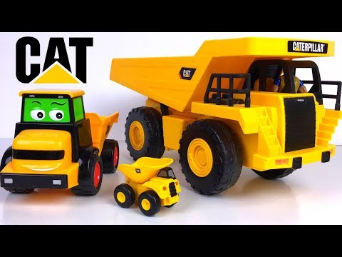 STORY WITH MIGHTY MACHINES DUMP TRUCKS AND KINETIC SAND SHAPING DUMPING & JOBSITE CONSTRUCTION FUN
