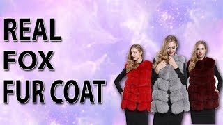 FURSARCAR Real Fox Fur Coat Women | Winter Natural Fur Genuine Leather
