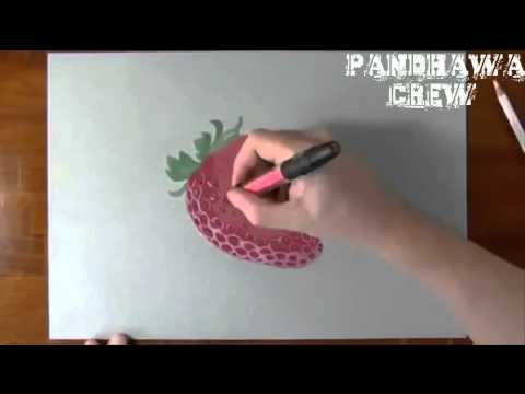 Amazing 3D Drawing Art With Pencil – Strawberry Like Real