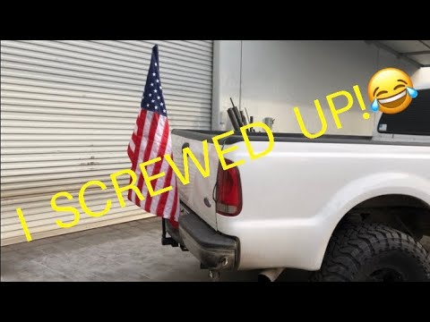 Lifted F250 7.3 Powerstroke Trailer Hitch Flag Pole | I Messed Up!😂 Fabricating/ Welding | Easy Fix