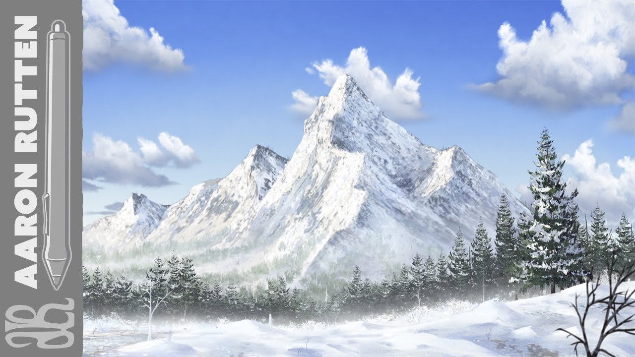snowy mountain landscape painting. snowy mountain corel painter 2018 landscape speedpaint painting i