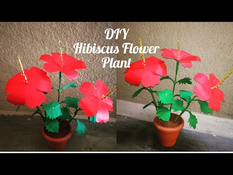 How to make Artificial Hibiscus Plant / Paper Flower Hibiscus plant /  Flower plant / Home Decor