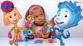 ✔ Фиксики и девочка Ярослава открывают новый набор Игрушек Прыгунов. Видео для детей ✔
