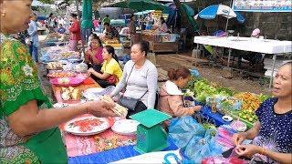 Asian street food in Vang Vieng laos market ( Vientiane Province ) 🔴 Laos food วังเวียง