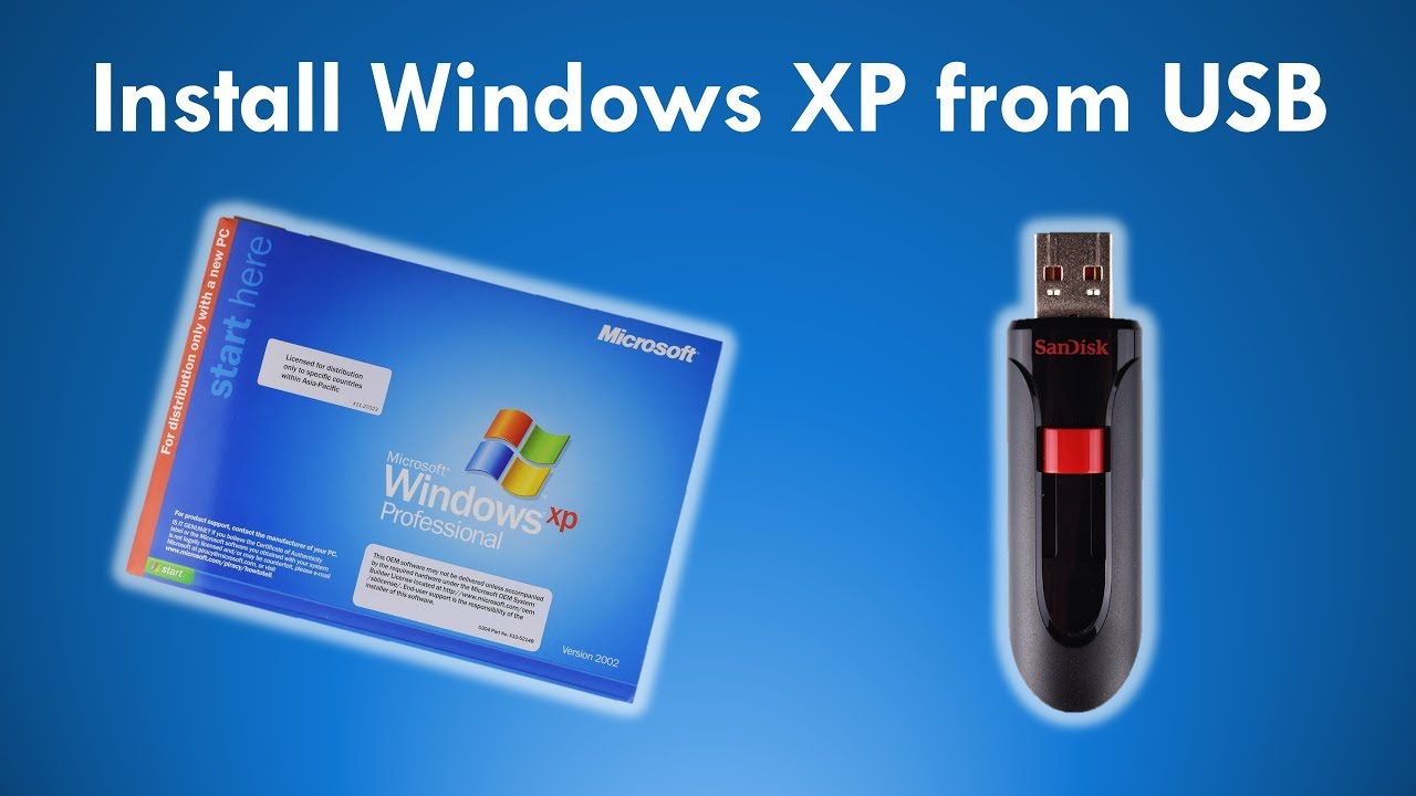 load windows xp from usb drive
