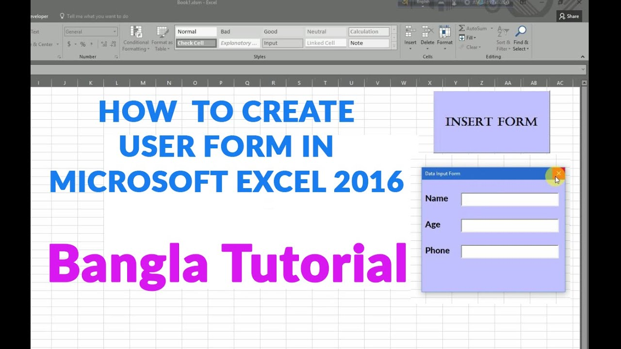 How to Create User form in Microsoft Excel 2016/13/10 part -1 ...