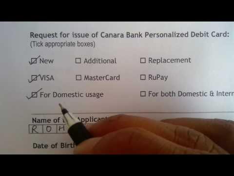 Atm Debit Card Apply Form Filling Canara Bank In Hindi Youtube