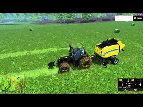 farming simulator 2015 mowing and windrowing bailing all in one video