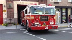 DUMB ASS STUPID MOTORIST ALMOST HITS FIREFIGHTER AS FDNY ENGINE 34 RETURNS TO QUARTERS IN NYC.