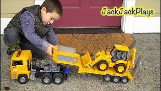 Bruder Toy Trucks: Unboxing and Playing with Backhoe + Tractor Trailer