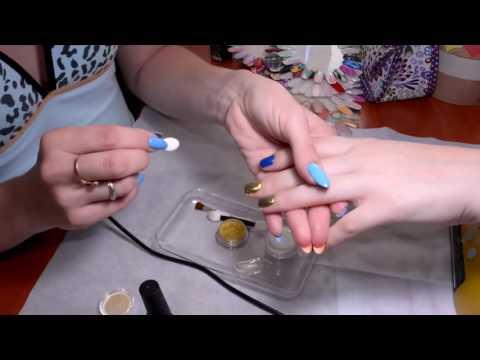 Ногти с золотой затиркой