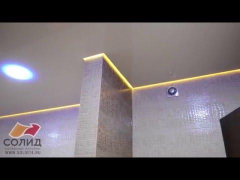 Парящий натяжной потолок в ванной комнате