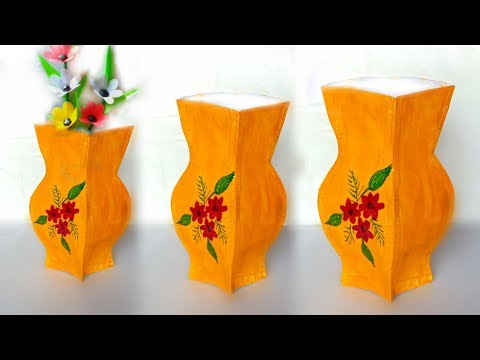 easy paper flower vase making // paper flower vase / how to make flower vase