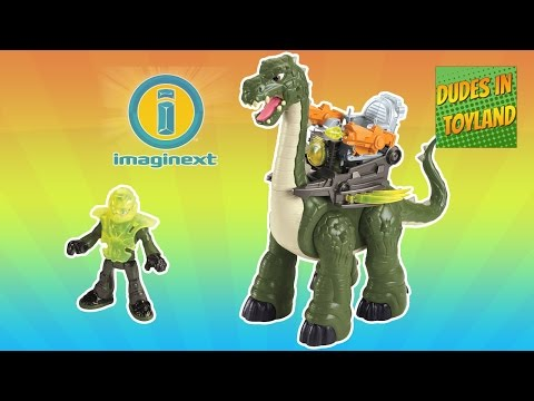 Imaginext dinosaurs toys Mega Apatosaurus videos for children SO COOL! Walking, shooting dino
