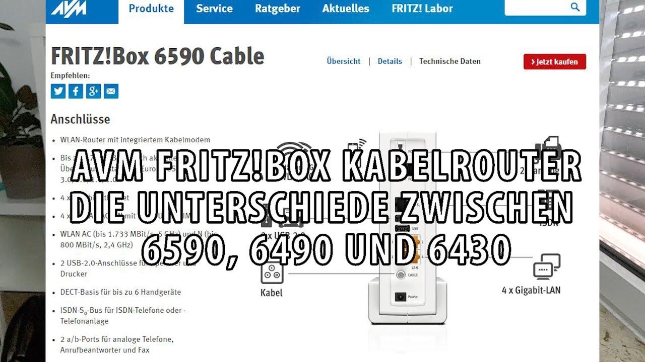 avm fritzbox kabelrouter unterschiede zwischen 6590 6490 und 6430 im vergleich youtube. Black Bedroom Furniture Sets. Home Design Ideas