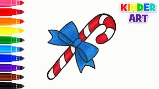 Как нарисовать конфету/леденец на Новый год | How to draw a candy cane