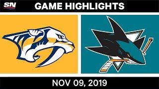 NHL Highlights   Predators vs. Sharks – Nov. 9, 2019