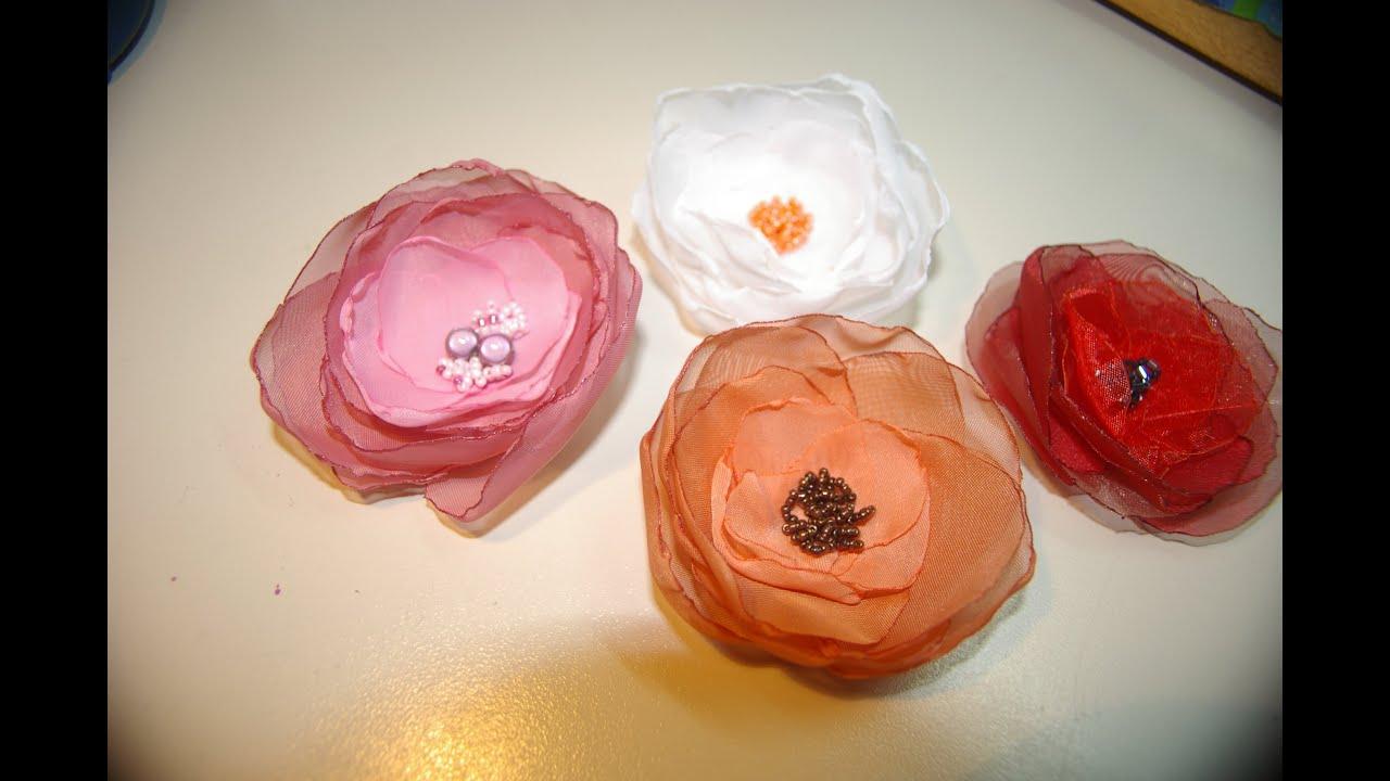 Цветы броши своими руками из ткани