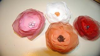 Цветы из ткани шифона своими руками! Мастер класс!(Цветы из ткани. Мастер класс как сделать нежную брошь - цветок! Украшения из шифона! Как сделать интеръерный..., 2015-03-04T17:24:25.000Z)