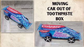 How to make moving car out of toothpaste box. Kids craft ideas. Car out of waste material. Easy DIY