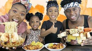 SEAFOOD BOIL MUKBANG | SPICY CHEESY NOODLES | KING CRAB & TIGER SHRIMP | HILARIOUS!