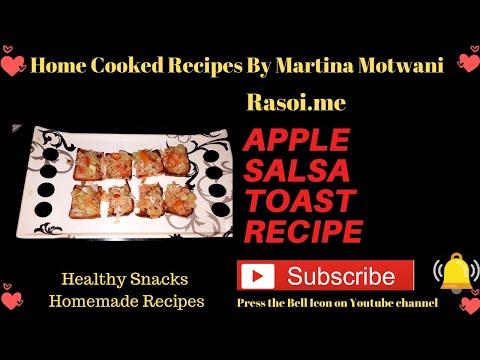 Apple Salsa Toast | Fresh Apple Salsa Toast Recipe | Spicy Apple-Tomato Salsa Rasoi.me