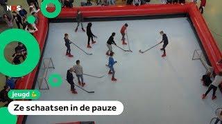 Scholieren in Venlo schaatsen in hun school