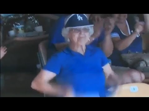 Elderly Woman Flashes Her Old Ass Tatas at Fans During Dodgers Game