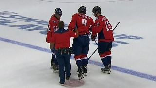 Ovechkin needs help leaving the ice after low Kadri hit