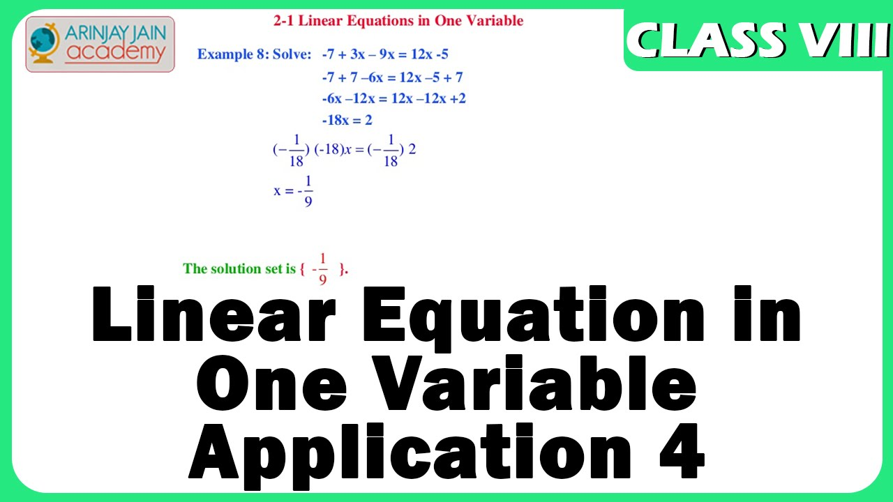 Linear Equation in One Variable - Application 4 - Maths Class VIII ...