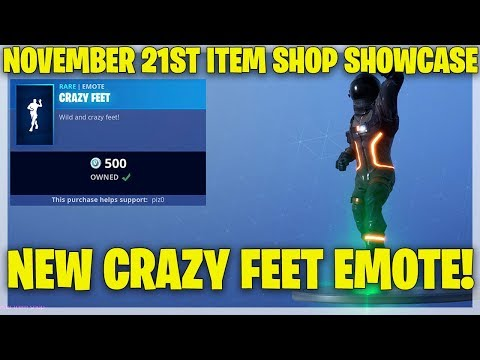 Fortnite Item Shop *NEW* CRAZY FEET EMOTE! [November 21st, 2018] (Fortnite Battle Royale) thumbnail