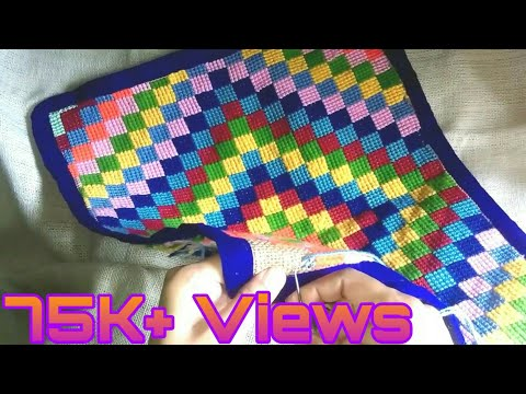 Easy to make | Cross stitch design colorful door mat.