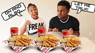 TALKING Over My BOYFRIEND Every time He Talks For The ENTIRE Video! | RAISING CANES MUKBANG