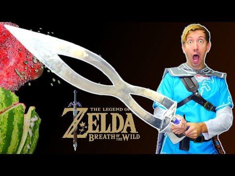 5 ZELDA Weapons in REAL LIFE  Breath of the Wild vs Fruit Ninja IRL