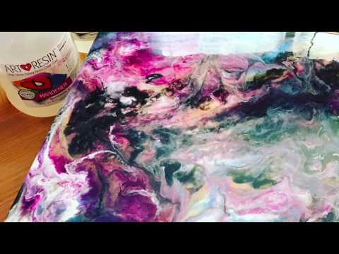 Resin art painting creating cells