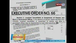 BT: EO No. 66: Mayor ang dapat mag-anunsyo ng class suspension kung walang typhoon warning signal