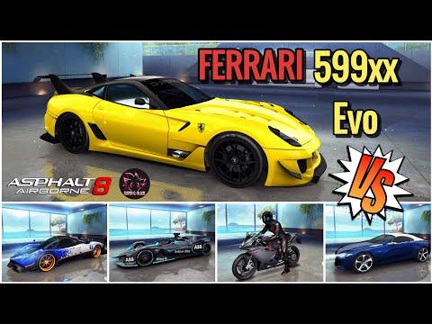 Asphalt 8 Ferrari 599xx Evo vs Peugeot SR1 vs Formula E Gen2 & Various, Super G Black