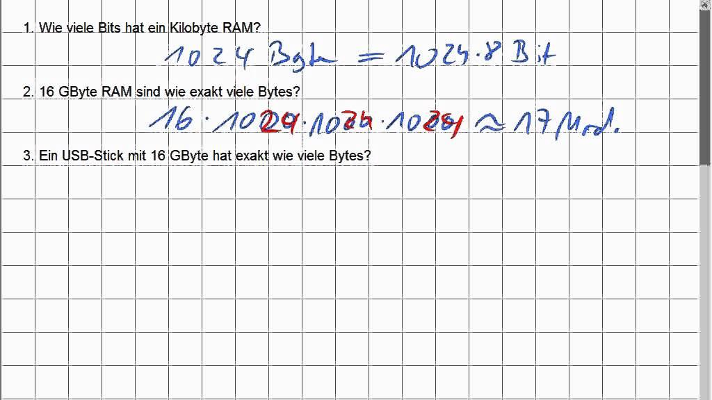 01d 1 bit byte kilobyte beispielrechnungen