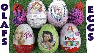 Frozen Olaf Kinder Surprise Eggs Disney Princess Anna Sofia Fairies Barbie Mamba Music Thomas Train