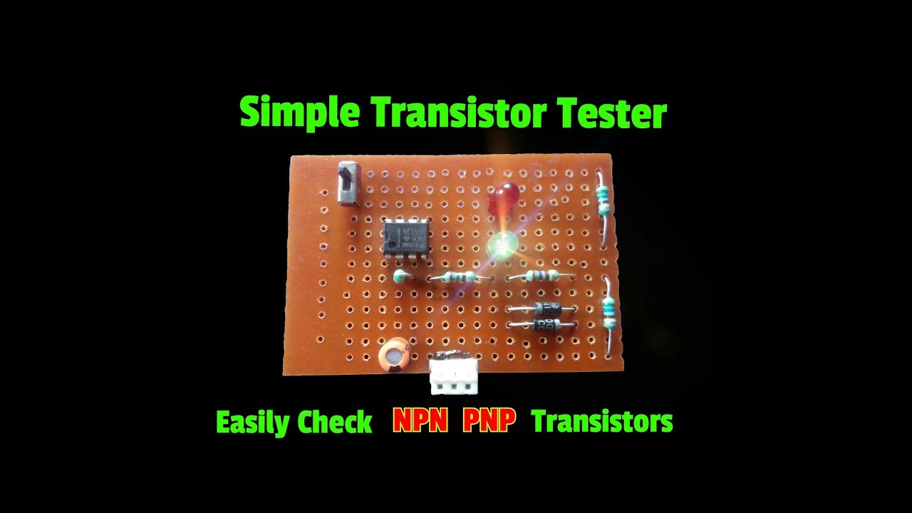 how to make a transistor tester circuit easily check any npn or pnp transistors simple circuit  [ 1280 x 720 Pixel ]