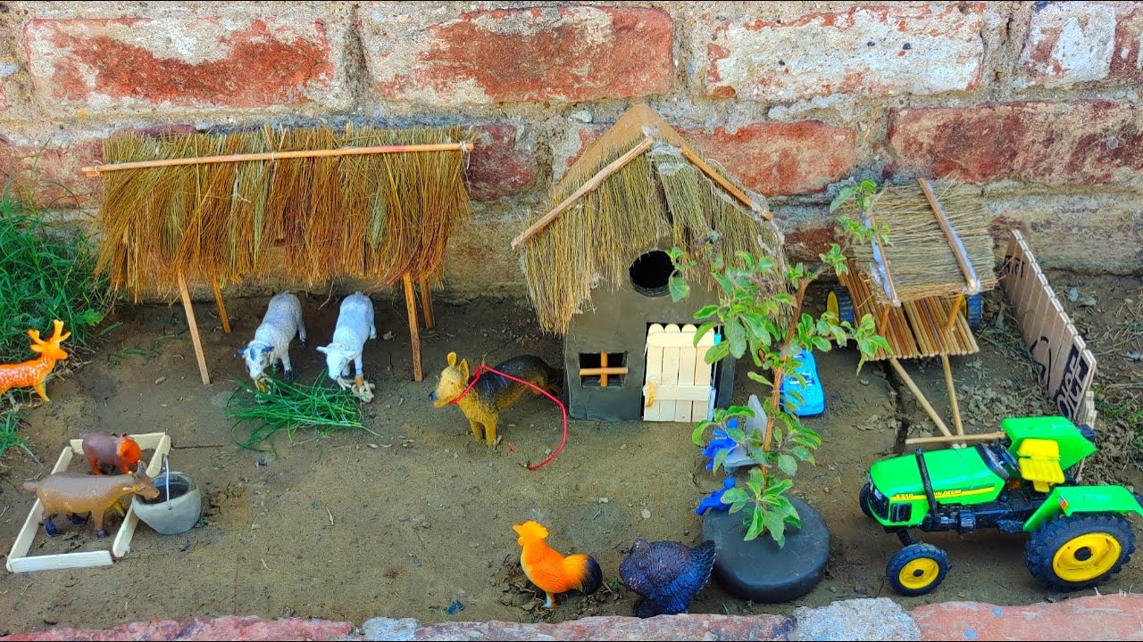 DIY How To Make a Village Farmer House | mini farm | Cow shed | house of animals | Mini Village
