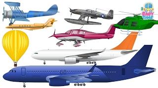 Aprender cores com aviões | Aprendendo veículos aéreos | Vídeo educativo para crianças