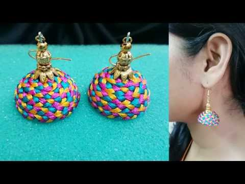 Making MULTI COLOR SILK THREAD earrings | Model for sale at www.beautyinustores.com |