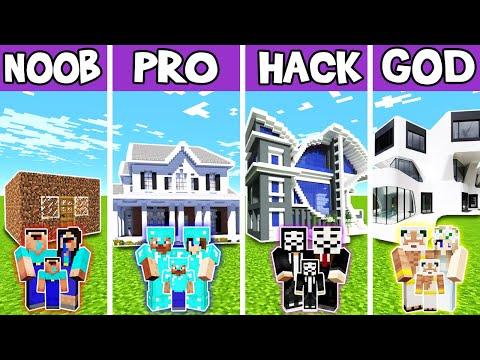 Minecraft: FAMILY MODERN LUXURY HOUSE BUILD CHALLENGE - NOOB vs PRO vs HACKER vs GOD in Minecraft