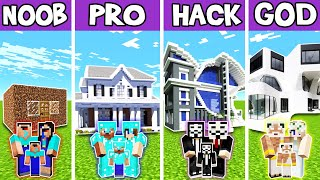 Minecraft: FAMILY MODERN LUXURY HOUSE BUILD CHALLENGE - NOOB vs PRO vs HACKER vs GOD in Minecraft