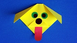 Как сделать собаку из бумаги. Оригами без клея и ножниц. Собачка. Поделки.